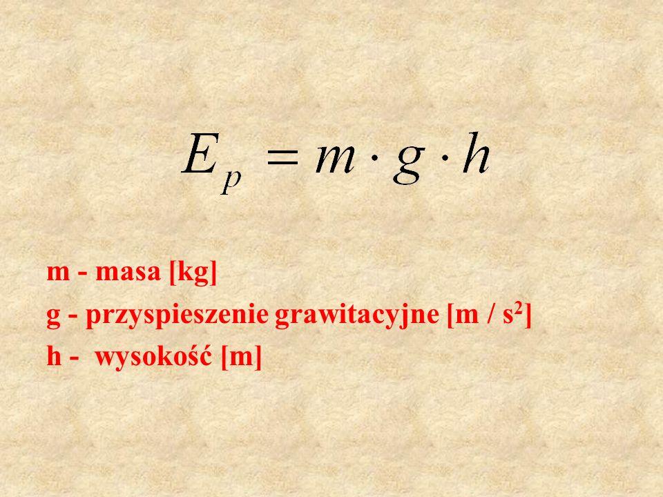 m - masa [kg] g - przyspieszenie grawitacyjne [m / s2] h - wysokość [m]